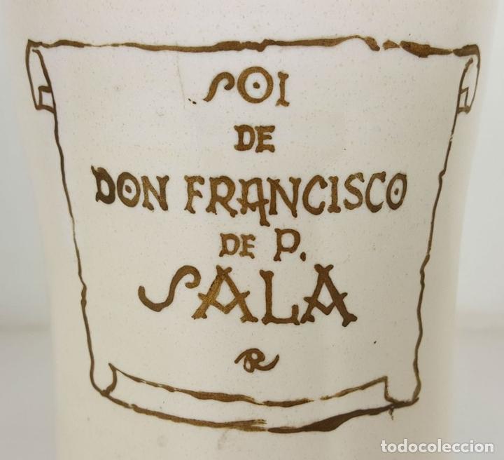 Antigüedades: ALBARELO O POTE DE FARMACIA. CERÁMICA ESMALTADA. PUENTE DEL ARZOBISPO. SIGLO XX. - Foto 8 - 104669035