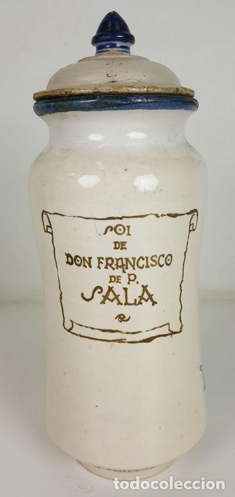 Antigüedades: ALBARELO O POTE DE FARMACIA. CERÁMICA ESMALTADA. PUENTE DEL ARZOBISPO. SIGLO XX. - Foto 9 - 104669035