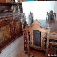 Antigüedades: COMEDOR PROVENZAL, NOGAL, CERCA DE 1.920, APARADOR, MESA Y SEIS SILLAS. Lote 104674315