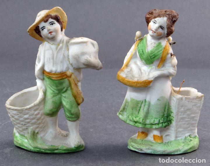 PAREJA PALILLEROS BISCUIT COLOR NIÑOS PP S XX (Antigüedades - Porcelana y Cerámica - Alemana - Meissen)