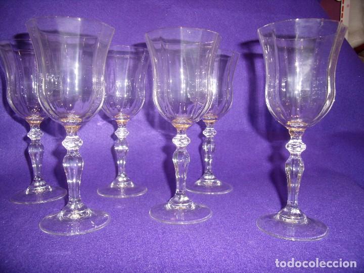 Antigüedades: Copas de agua,filo oro President, 6 uni,de Fidenza idee in Vetro, años 70,Made Italia,Nuevo sin.usar - Foto 2 - 104687231
