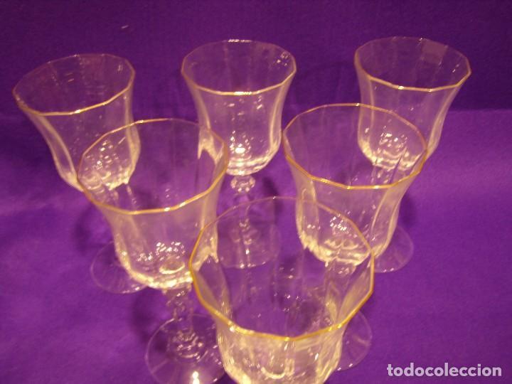 Antigüedades: Copas de agua,filo oro President, 6 uni,de Fidenza idee in Vetro, años 70,Made Italia,Nuevo sin.usar - Foto 4 - 104687231