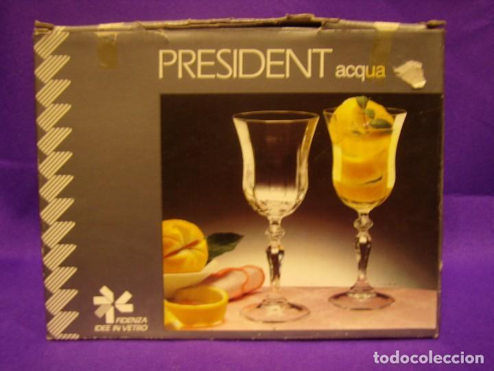 Antigüedades: Copas de agua,filo oro President, 6 uni,de Fidenza idee in Vetro, años 70,Made Italia,Nuevo sin.usar - Foto 6 - 104687231