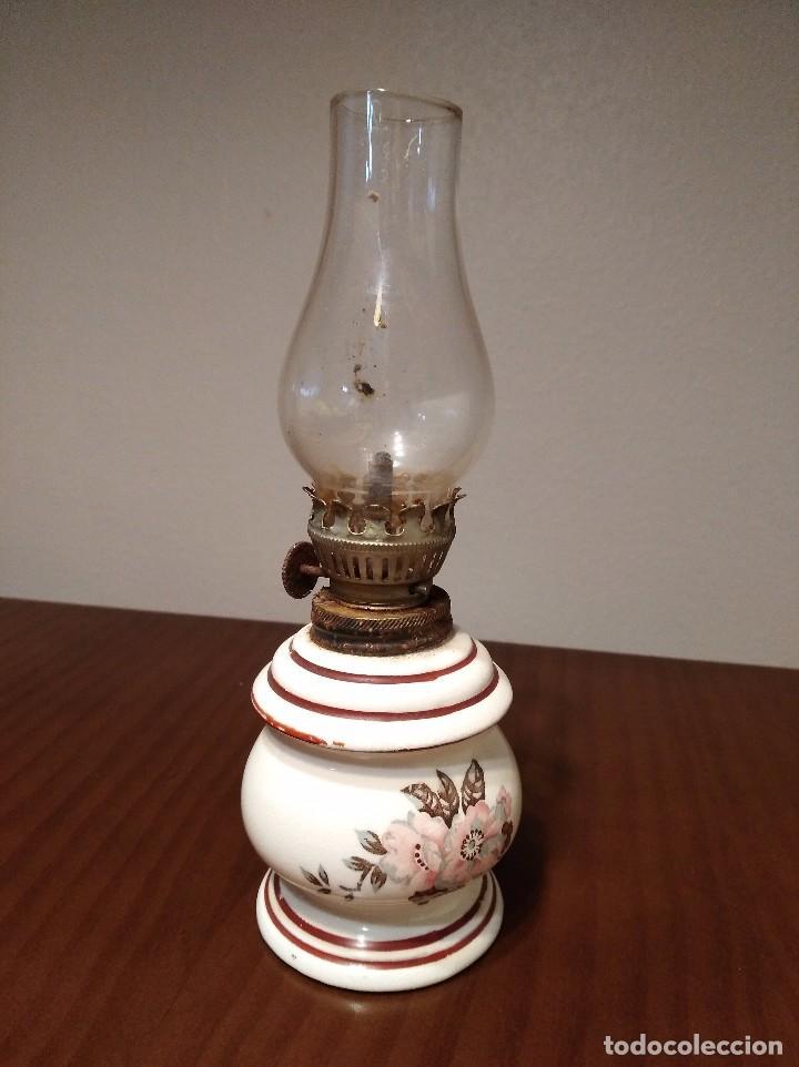 ANTIGUO QUINQUE CERAMICA JAPONESA (Antigüedades - Iluminación - Quinqués Antiguos)