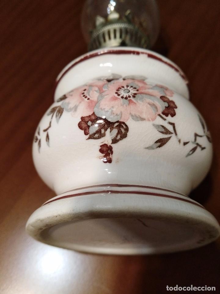 Antigüedades: ANTIGUO QUINQUE CERAMICA JAPONESA - Foto 6 - 104695327