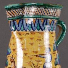 Antigüedades: JARRA JARRON CERÁMICA TRIANA TEMA CACERÍA MONTERÍA FINALES DEL SIGLO XIX. Lote 104696799