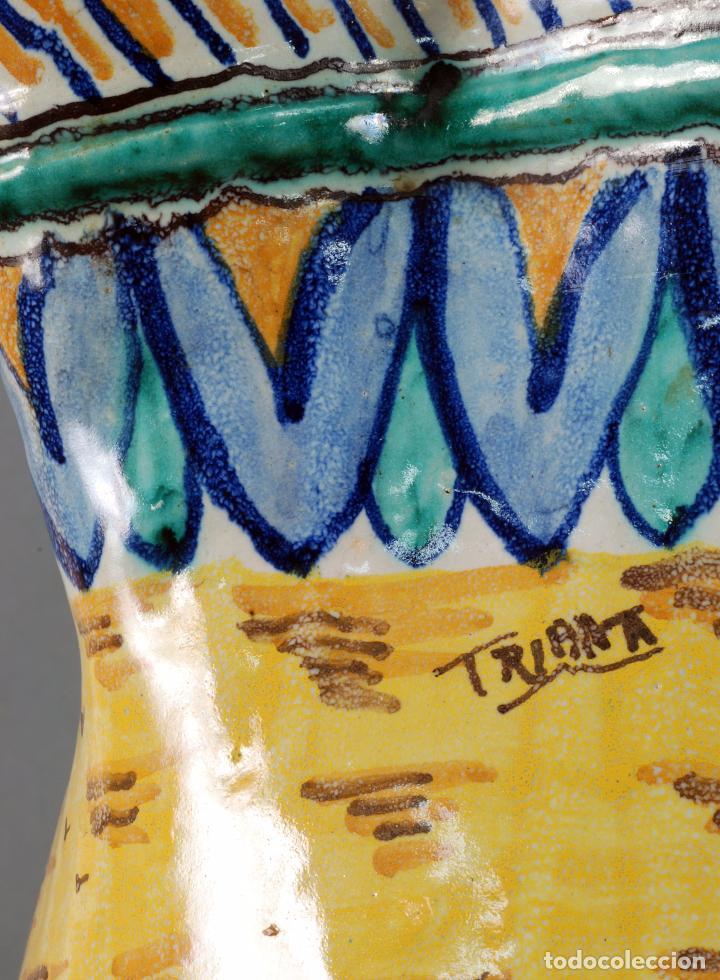 Antigüedades: Jarra jarron cerámica Triana tema cacería montería finales del siglo XIX - Foto 11 - 104696799