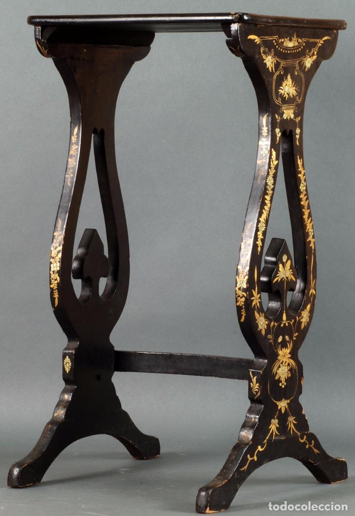 Mesa auxiliar madera lacada china decoraci n do comprar - Mesa auxiliar dorada ...