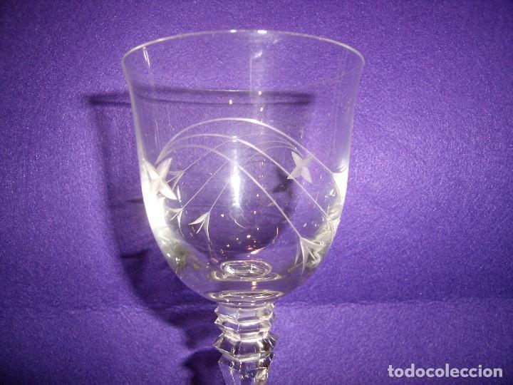 Antigüedades: Copas 6 agua con jarra cristal tallado al ácido de Vilusi,copas sonoridad años 70,Nuevo sin usar. - Foto 2 - 104706511