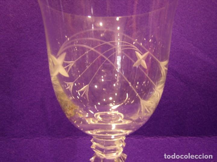 Antigüedades: Copas 6 agua con jarra cristal tallado al ácido de Vilusi,copas sonoridad años 70,Nuevo sin usar. - Foto 3 - 104706511