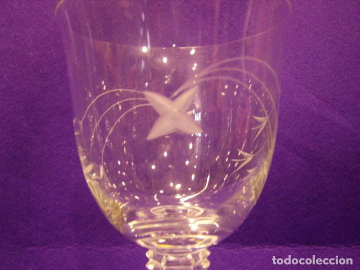 Antigüedades: Copas 6 agua con jarra cristal tallado al ácido de Vilusi,copas sonoridad años 70,Nuevo sin usar. - Foto 4 - 104706511