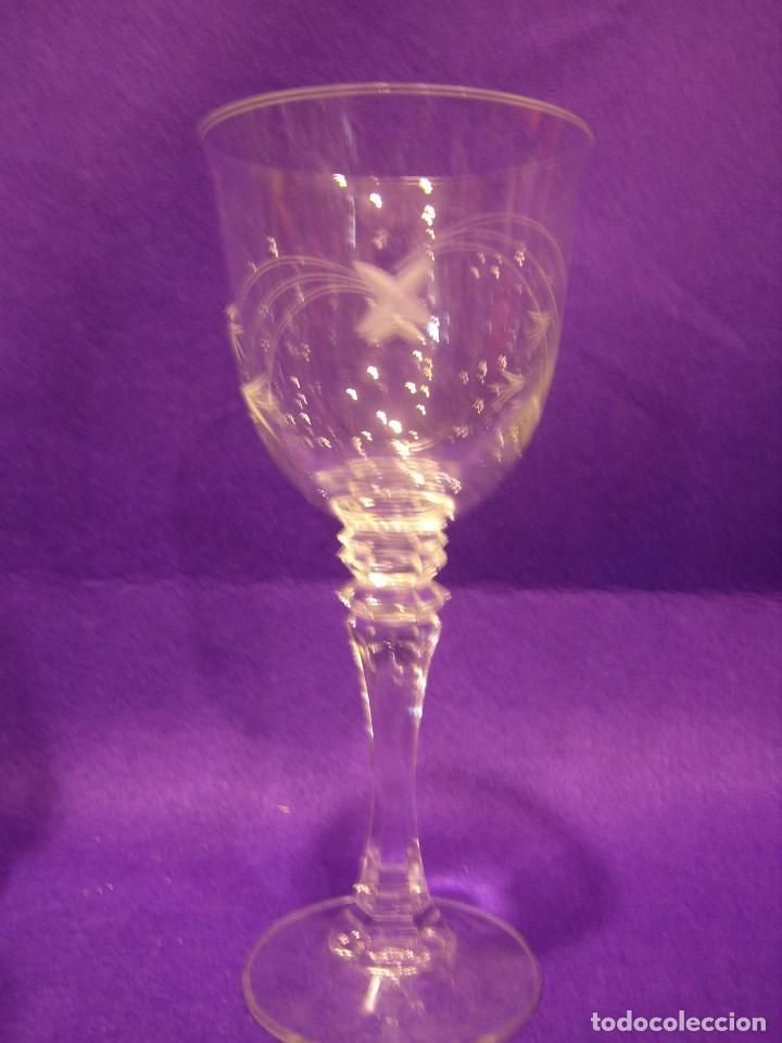 Antigüedades: Copas 6 agua con jarra cristal tallado al ácido de Vilusi,copas sonoridad años 70,Nuevo sin usar. - Foto 5 - 104706511