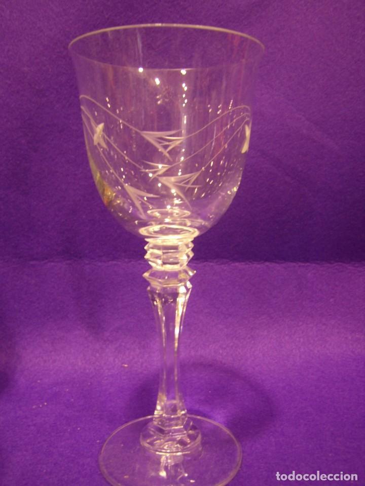 Antigüedades: Copas 6 agua con jarra cristal tallado al ácido de Vilusi,copas sonoridad años 70,Nuevo sin usar. - Foto 6 - 104706511