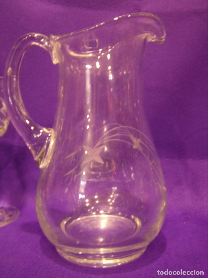Antigüedades: Copas 6 agua con jarra cristal tallado al ácido de Vilusi,copas sonoridad años 70,Nuevo sin usar. - Foto 8 - 104706511