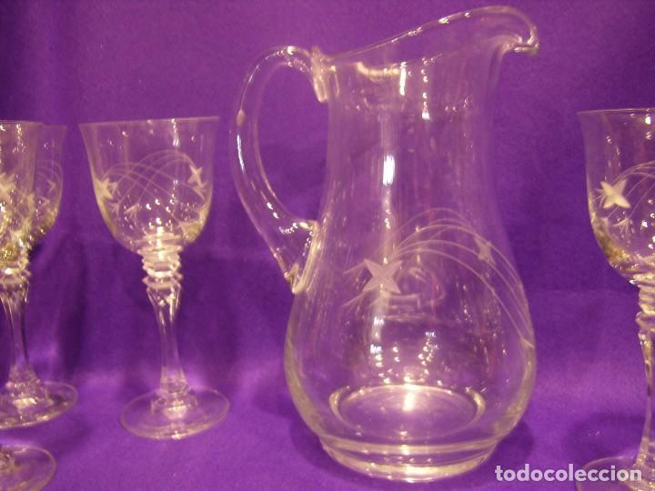 Antigüedades: Copas 6 agua con jarra cristal tallado al ácido de Vilusi,copas sonoridad años 70,Nuevo sin usar. - Foto 11 - 104706511