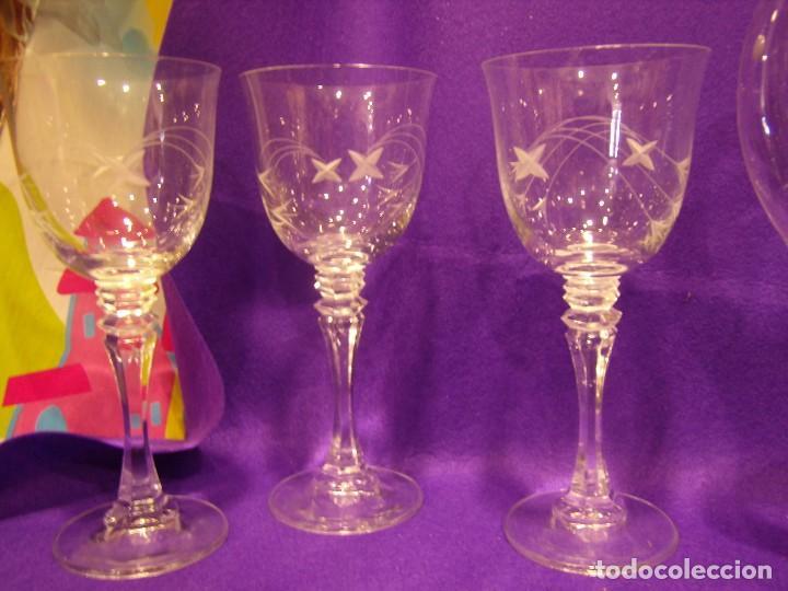 Antigüedades: Copas 6 agua con jarra cristal tallado al ácido de Vilusi,copas sonoridad años 70,Nuevo sin usar. - Foto 12 - 104706511