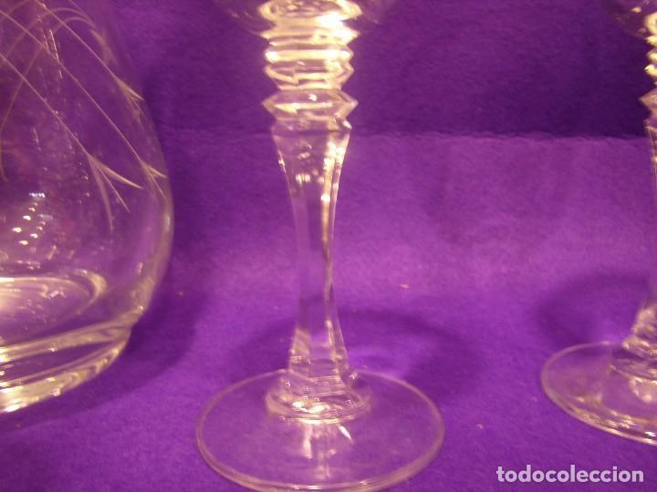 Antigüedades: Copas 6 agua con jarra cristal tallado al ácido de Vilusi,copas sonoridad años 70,Nuevo sin usar. - Foto 14 - 104706511