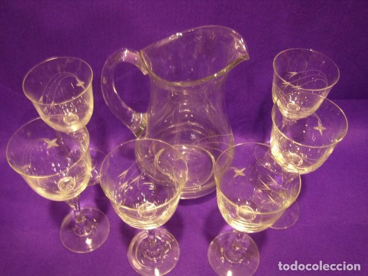 Antigüedades: Copas 6 agua con jarra cristal tallado al ácido de Vilusi,copas sonoridad años 70,Nuevo sin usar. - Foto 15 - 104706511