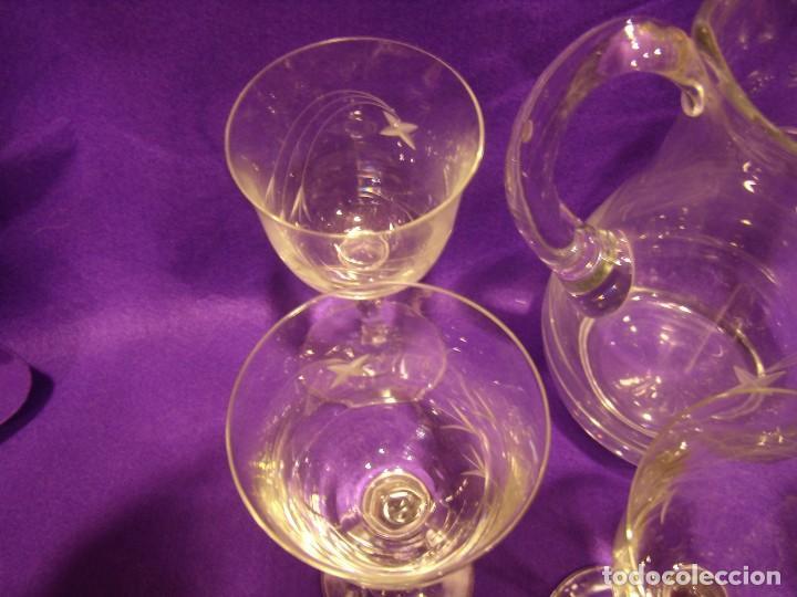 Antigüedades: Copas 6 agua con jarra cristal tallado al ácido de Vilusi,copas sonoridad años 70,Nuevo sin usar. - Foto 16 - 104706511