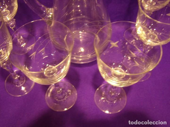 Antigüedades: Copas 6 agua con jarra cristal tallado al ácido de Vilusi,copas sonoridad años 70,Nuevo sin usar. - Foto 18 - 104706511