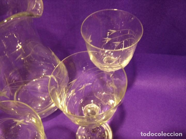 Antigüedades: Copas 6 agua con jarra cristal tallado al ácido de Vilusi,copas sonoridad años 70,Nuevo sin usar. - Foto 19 - 104706511