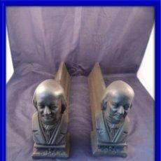 Antigüedades: MORILLOS DE CHIMENEA EN HIERRO CON DOS CABEZAS ANTIGUAS. Lote 104720075