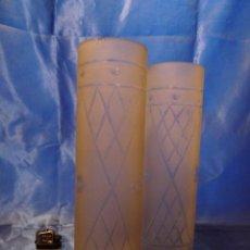 Antigüedades: TULIPA (2) TUBOS MATE TALLADOS MODERNISTAS. Lote 104724203