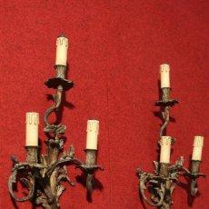 Antigüedades: PAR DE LÁMPARAS FRANCESAS EN BRONCE DORADO. Lote 104767907