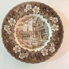 Antiquitäten - Plato de porcelana,Royal Tudor Ware Staffordshire. Tavern 1828 - 104777299