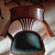 Antigüedades: SILLON DE DESPACHO, ROBLE, CERCA DE 1.900. Lote 104778783