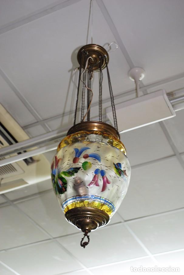 FAROL ANTIGUO COLGANTE ANTIGUO PINTADO A MANO (Antigüedades - Iluminación - Faroles Antiguos)