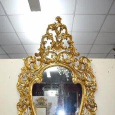 Antigüedades - ESPEJO CORNUCOPIA ANTIGUO DE MADERA TALLADA Y PAN DE ORO - 104795083