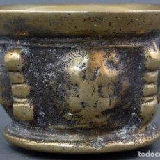 Antigüedades: ALMIREZ MORTERO DE COSTILLAS DE BRONCE DORADO SIN MANO SIGLO XIX. Lote 104800883