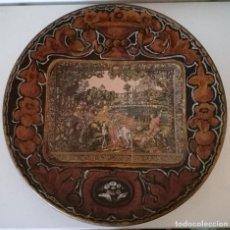 Antigüedades: ANTIGUO GRANDE PLATO BARRO O CERÁMICA OSCURA PINTADO A MANO. Lote 104811539