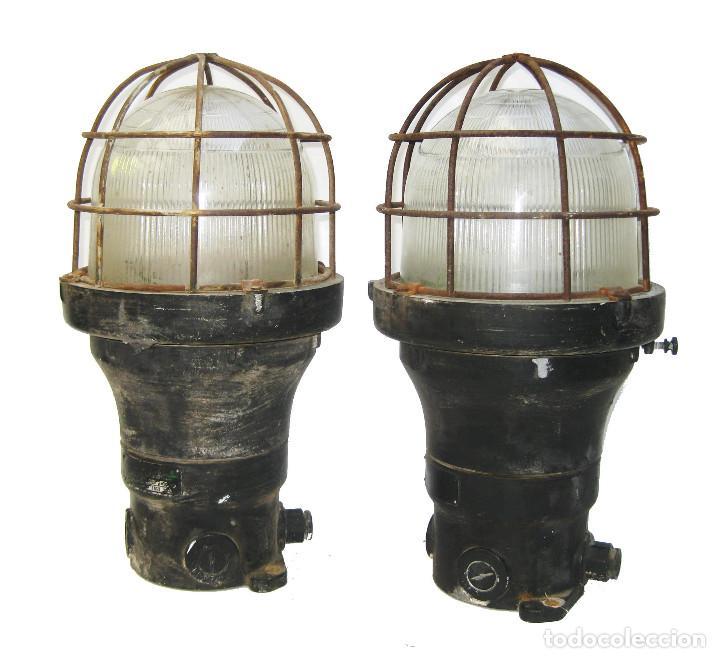 ENORMES Y ANTIGUAS LAMPARAS NAUTICAS BARCO RUSSELL & STOLL U.S.A HIERRO Y CRISTAL (Antigüedades - Iluminación - Lámparas Antiguas)