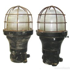 Antigüedades: ENORMES Y ANTIGUAS LAMPARAS NAUTICAS BARCO RUSSELL & STOLL U.S.A HIERRO Y CRISTAL. Lote 104841163