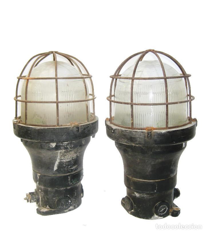 Antigüedades: ENORMES Y ANTIGUAS LAMPARAS NAUTICAS BARCO RUSSELL & STOLL U.S.A HIERRO Y CRISTAL - Foto 4 - 104841163