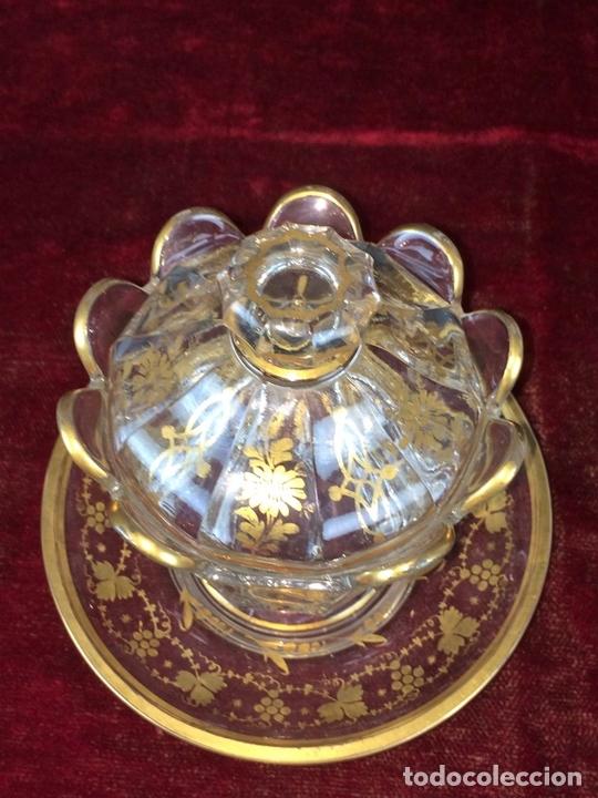 Antigüedades: COMPOTERA. CRISTAL. REAL FABRICA DE LA GRANJA. SOPLADO. TALLADO. DORADO. ESPAÑA. XVIII - Foto 4 - 104849691