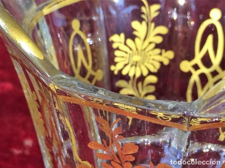 Antigüedades: COMPOTERA. CRISTAL. REAL FABRICA DE LA GRANJA. SOPLADO. TALLADO. DORADO. ESPAÑA. XVIII - Foto 7 - 104849691