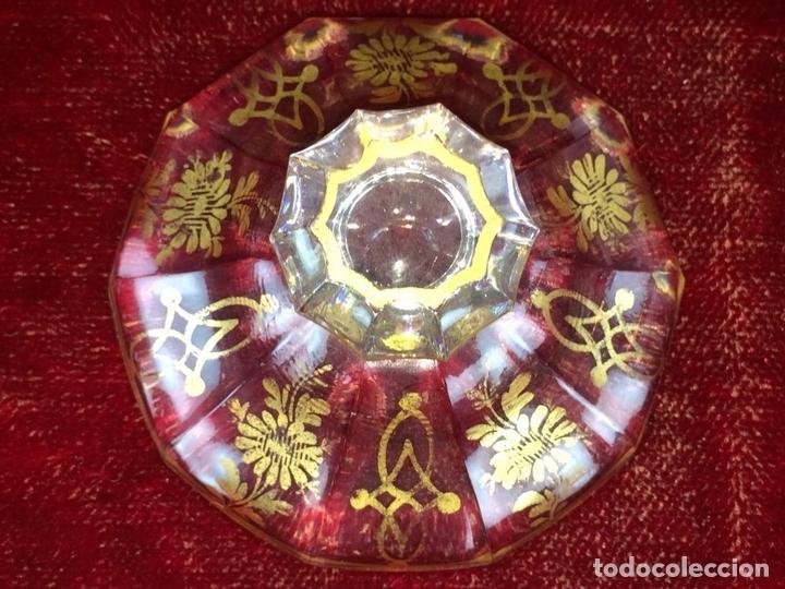 Antigüedades: COMPOTERA. CRISTAL. REAL FABRICA DE LA GRANJA. SOPLADO. TALLADO. DORADO. ESPAÑA. XVIII - Foto 10 - 104849691