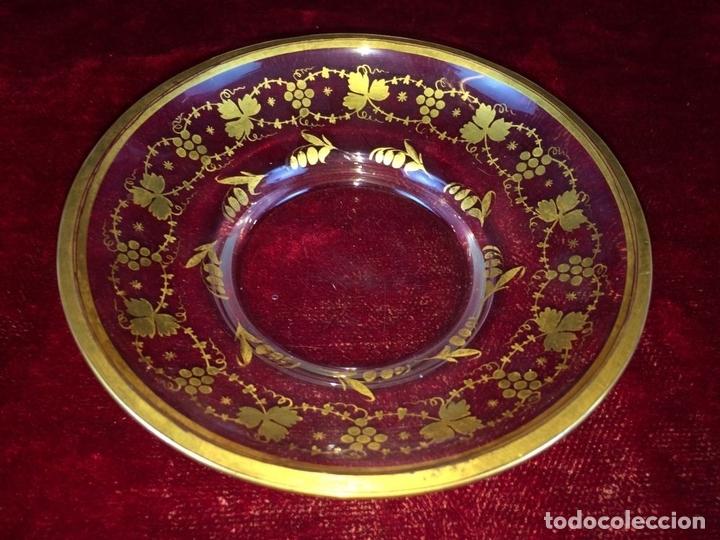 Antigüedades: COMPOTERA. CRISTAL. REAL FABRICA DE LA GRANJA. SOPLADO. TALLADO. DORADO. ESPAÑA. XVIII - Foto 11 - 104849691
