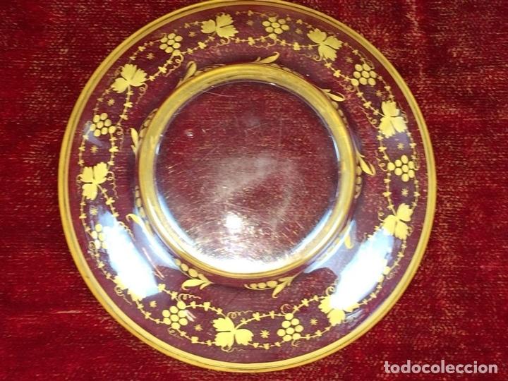 Antigüedades: COMPOTERA. CRISTAL. REAL FABRICA DE LA GRANJA. SOPLADO. TALLADO. DORADO. ESPAÑA. XVIII - Foto 12 - 104849691