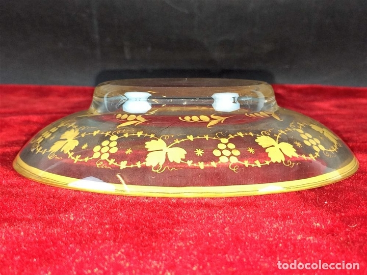 Antigüedades: COMPOTERA. CRISTAL. REAL FABRICA DE LA GRANJA. SOPLADO. TALLADO. DORADO. ESPAÑA. XVIII - Foto 13 - 104849691