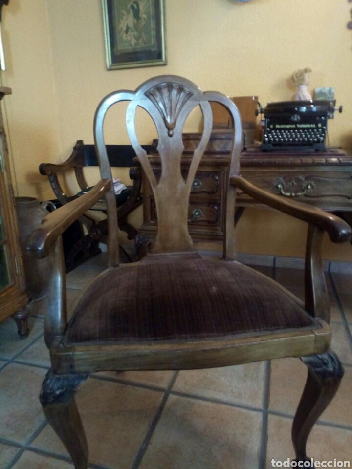 Antigüedades: Mesa de despacho con sillon, siglo XIX - Foto 4 - 104858359