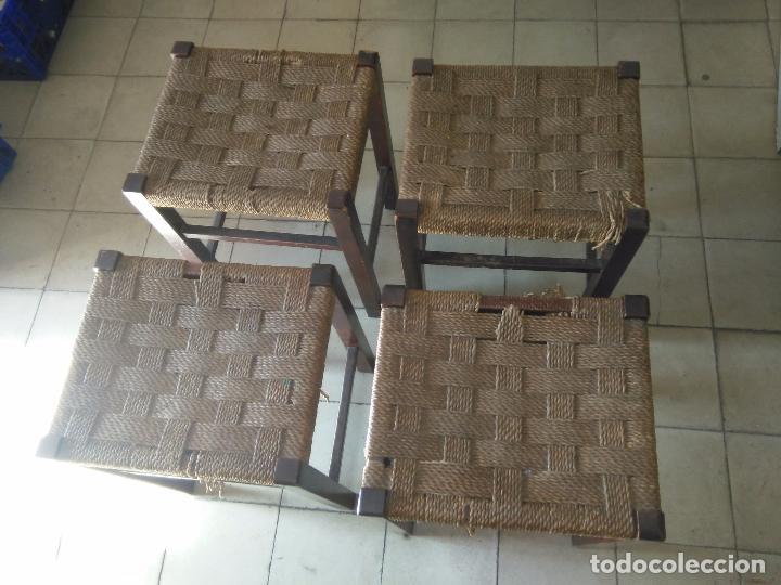 4 SILLAS ANTIGUAS TABURETES BANQUETAS TABURETAS DE NEA O ENEA PARA RESTAURAR 44 CM ALTURAL - LEER (Antigüedades - Muebles Antiguos - Sillas Antiguas)