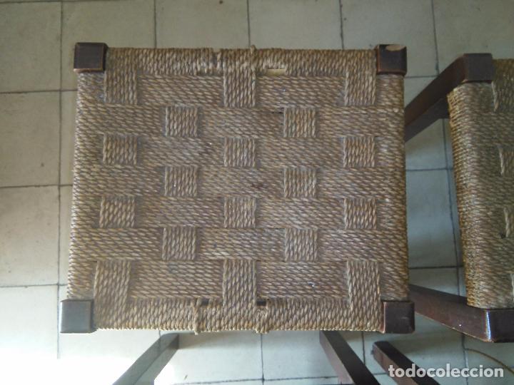 Antigüedades: 4 SILLAS ANTIGUAS TABURETES BANQUETAS TABURETAS DE NEA O ENEA PARA RESTAURAR 44 CM ALTURAL - LEER - Foto 4 - 104863463