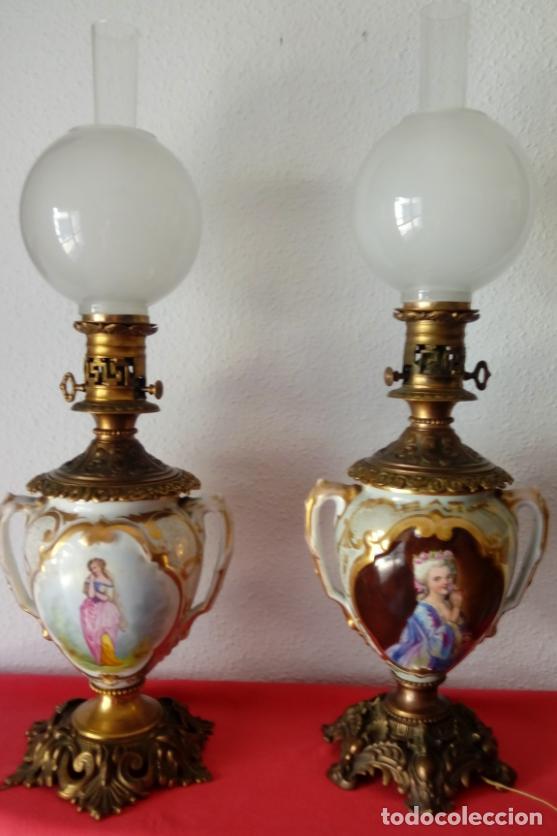 Antigüedades: PAREJA DE JARRONES ADAPTADOS PARA LÁMPARAS DE PORCELANA VIEJO PARÍS S. XIX. 73 CMS DE ALTO, MIDIENDO - Foto 8 - 104904183