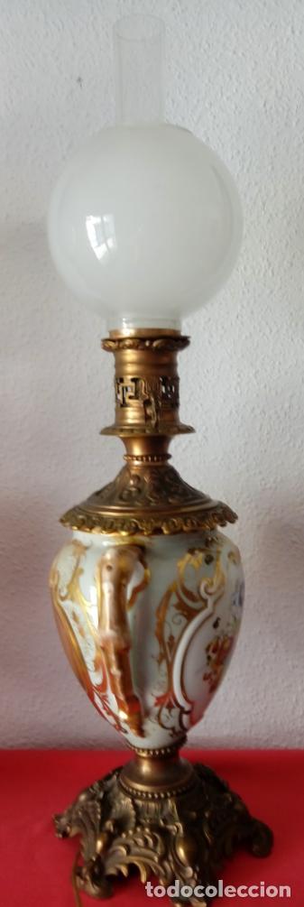 Antigüedades: PAREJA DE JARRONES ADAPTADOS PARA LÁMPARAS DE PORCELANA VIEJO PARÍS S. XIX. 73 CMS DE ALTO, MIDIENDO - Foto 12 - 104904183