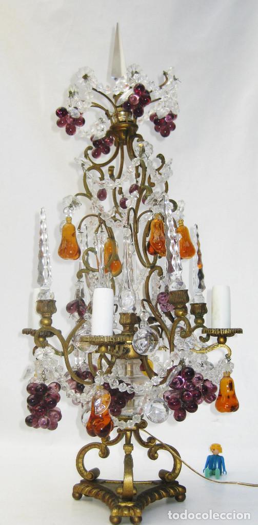 EXCEPCIONAL LAMPARA ANTIGUA BRONCE Y CRISTALES DE BOHEMIA XVIII , ALTA DECORACION (Antigüedades - Iluminación - Lámparas Antiguas)