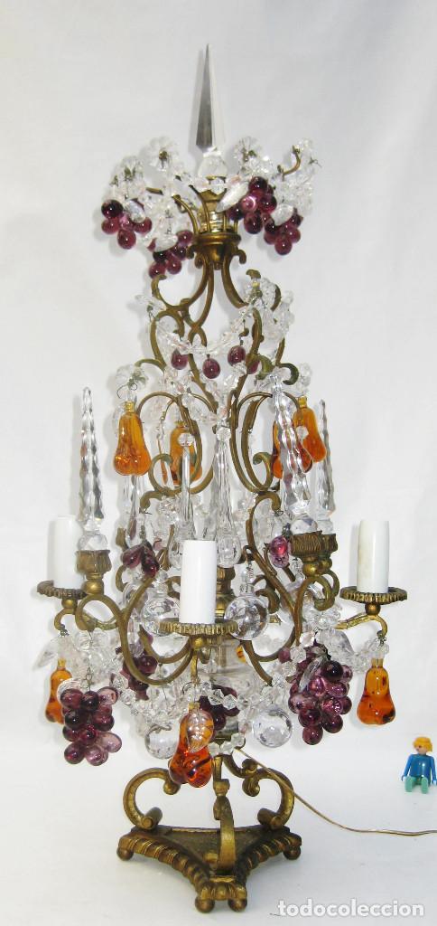 Antigüedades: EXCEPCIONAL LAMPARA ANTIGUA BRONCE Y CRISTALES DE BOHEMIA XVIII , ALTA DECORACION - Foto 2 - 104911847